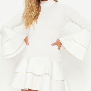 White Bonded Scuba Ruffle Sleeve Bodycon Dress